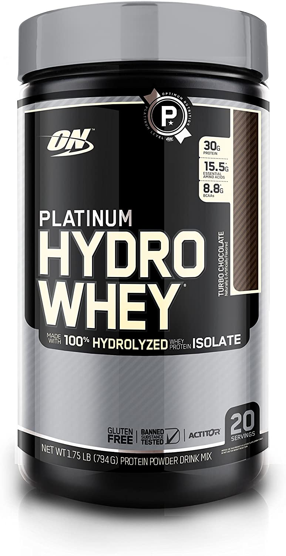 OPTIMUM NUTRITION Platinum Hydrowhey Protein Powder, 100 Hydrolyzed Whey Protein Isolate Powder, Flavor Turbo Chocolate, 1.75 Pounds