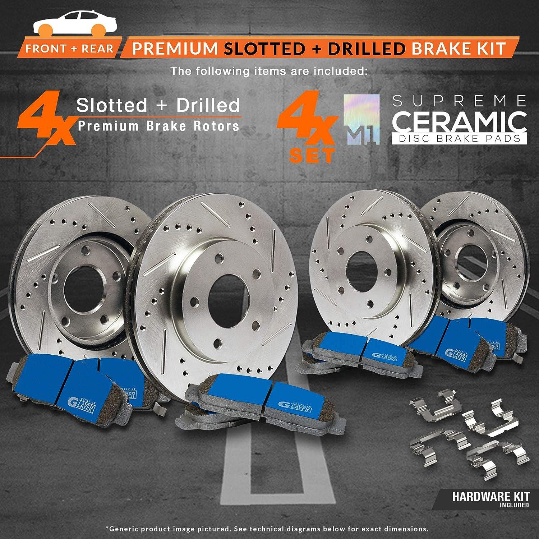Max Brakes Front /& Rear Supreme Brake Kit Fits: 2003 03 2004 04 2005 05 Chevy SSR Premium Slotted Drilled Rotors + Ceramic Pads KM014433