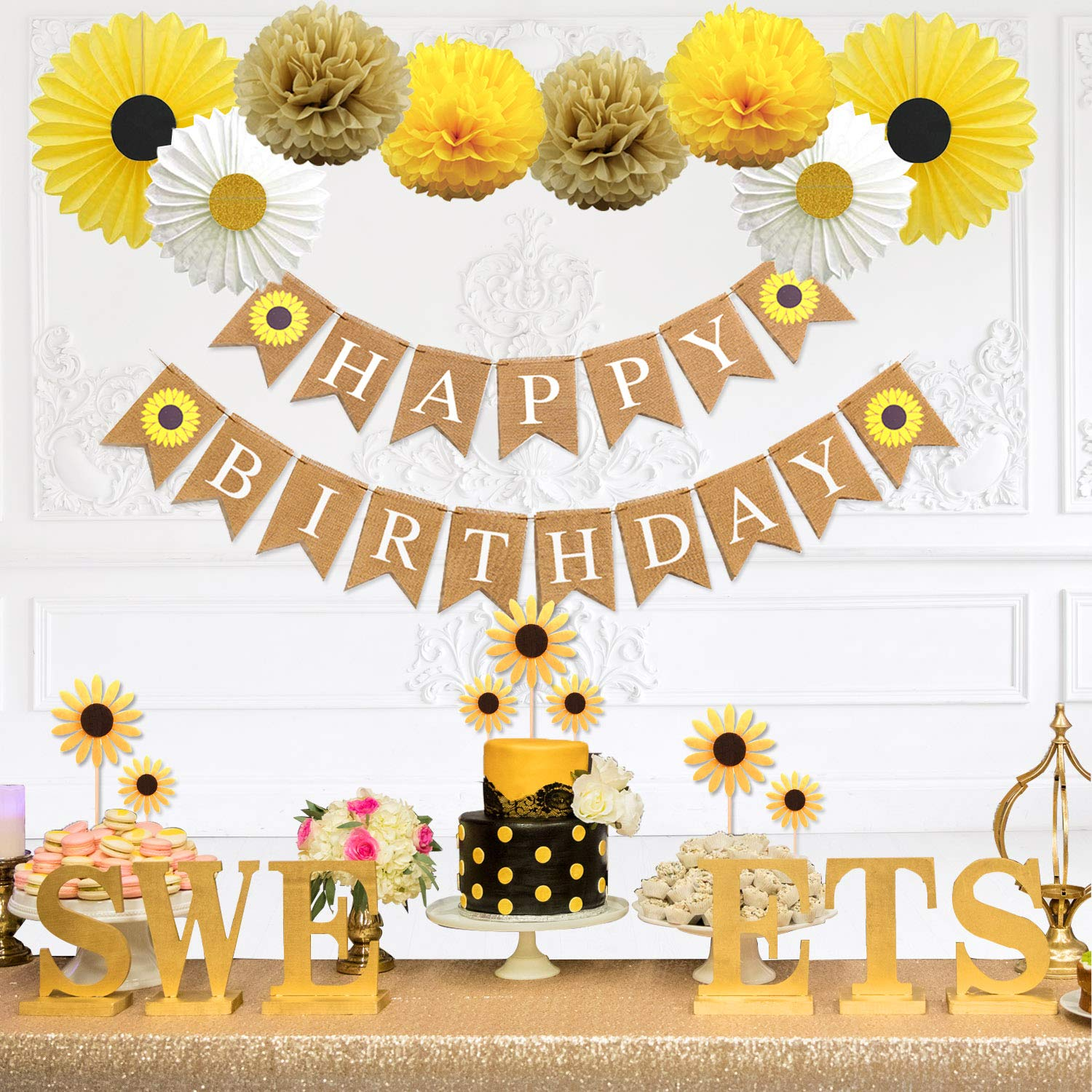 Party Inspo Sunflower Birthday Party Decorations Supplies Kit, Sunflower Happy Birthday Banner, Yellow Sunflowers Cupcake Toppers, Tissue Paper Fans, Pom Poms by Party Inspo
