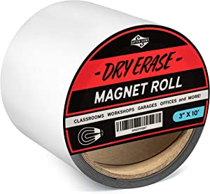 Sutter Signs Dry Erase Magnet Roll 3-inch Wide by 10-feet Long | Reusable, Customizable Labels and Signage for Office, Shop, and School