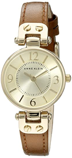 Anne Klein Women's 109442CHHY Gold-Tone Champagne Dial and Brown Leather Strap Watch Women at amazon