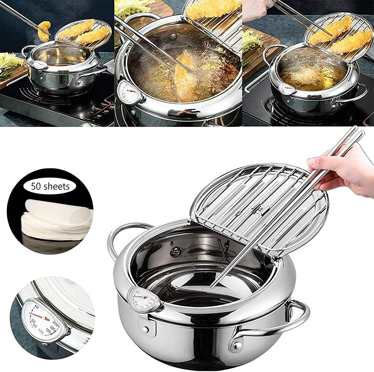 Tempura Fryer Pot with Thermometer Stainless Steel Japanese-style Frying pan with Oil Drip Rack Lid Tempura Pan for Kitchen Cooking 2200ML