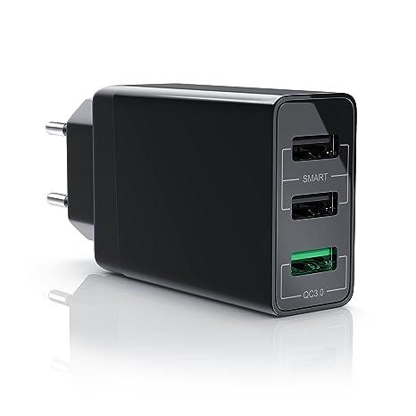 Aplic - 30W Cargador USB 3.0 Quick Charge de 3 puertos | Adaptador de red |