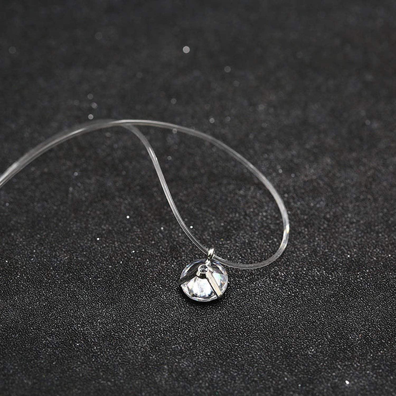 Ras-de-neck necklace Invisible nylon Zircon Solitaire Brillant Cristal and Paqu\u00e9 Gold Diamond Fishing Wire Style
