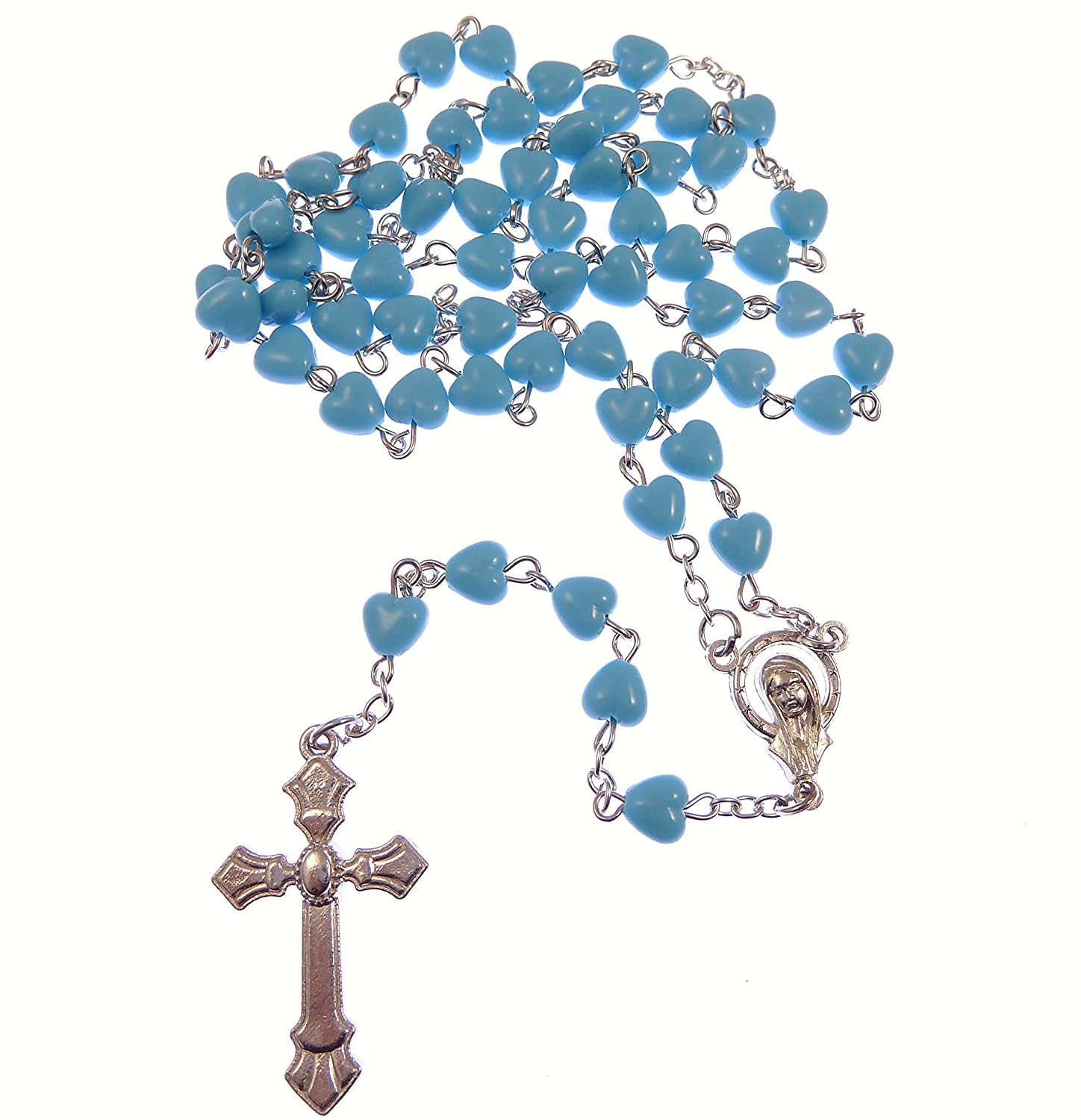 Catholic blue glass heart rosary beads on silver chain 5 decade 51cm length R. Heaven