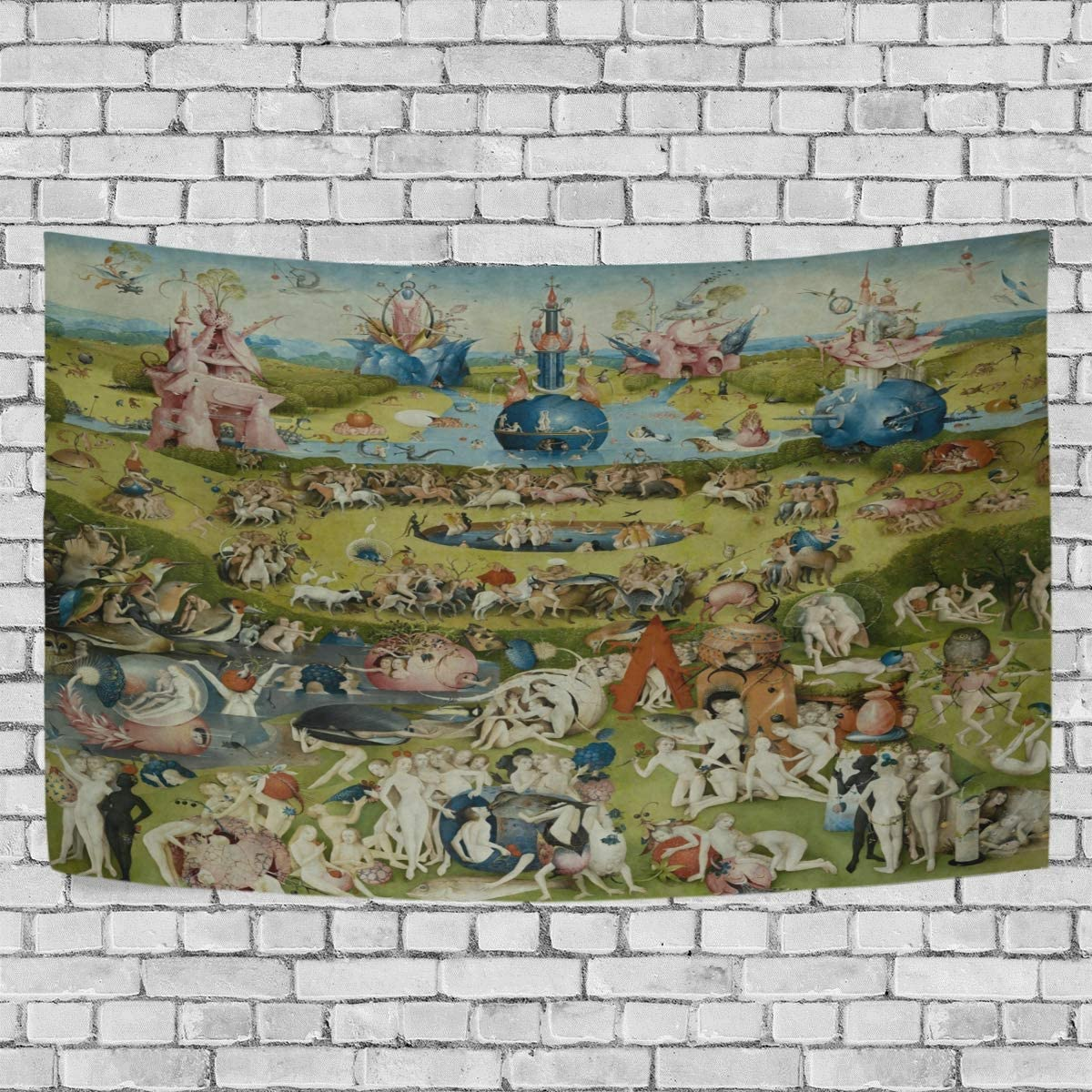 DJROW The Garden of Earthly Delights Decor Tapestry Wall Hanging for Bedroom Living Room Dorm 60x51(in)
