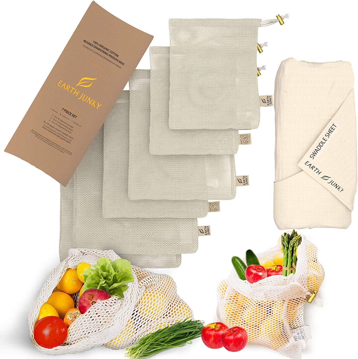 Organic Reusable Mesh Produce Bags - Washable Mesh Vegetable Bags for Fruit and Veg - 6 Food Grocery Bags and 1 Bonus Greens Swaddle Sheet - Eco Friendly Drawstring Bag Set - S, M, L