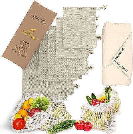 zero waste Grey /& Gold Fruit and vegetable bag set of bags for fruits and vegetables reusable bags washable fabrics ecological bags