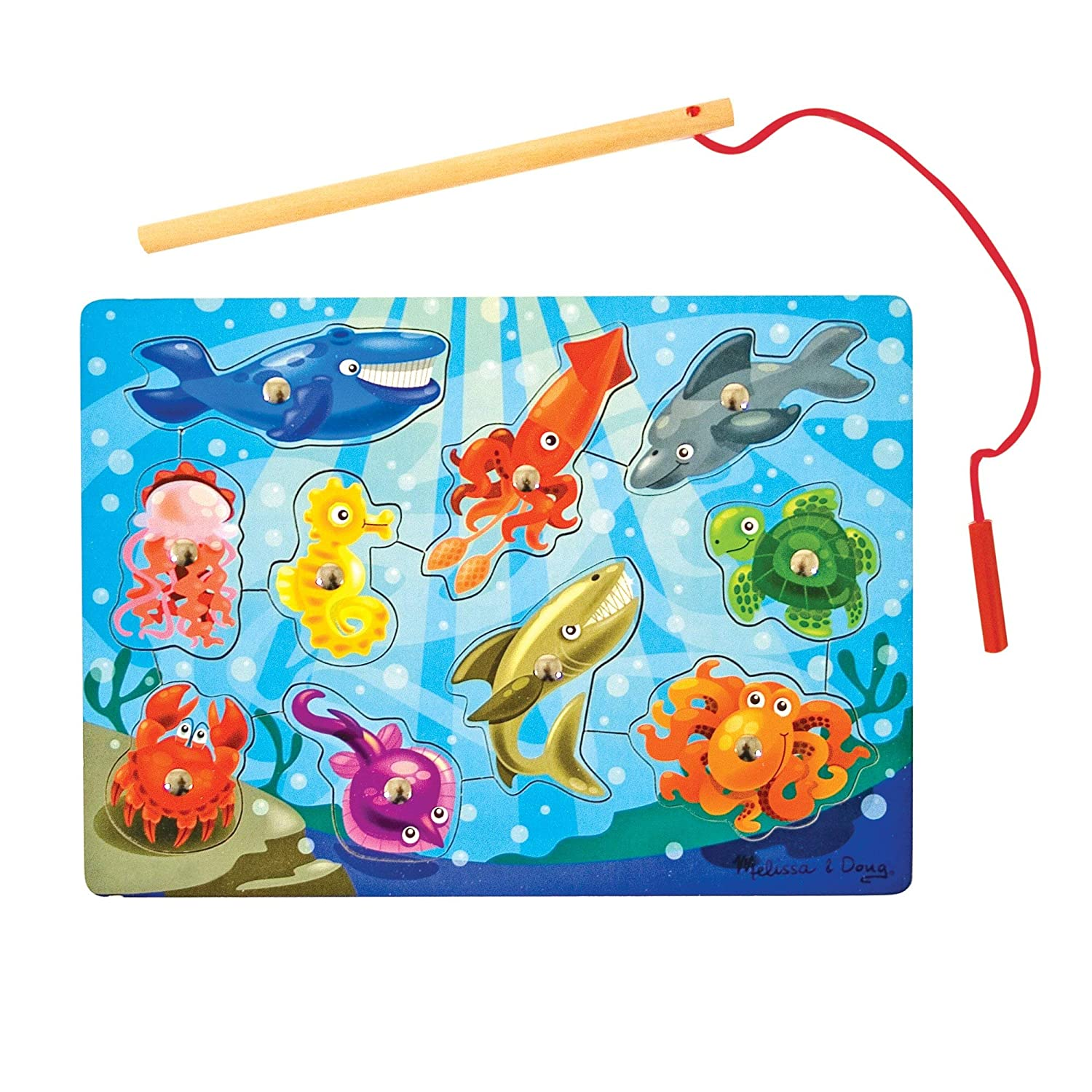 Melissa & Doug Magnetic Wooden Fishing Game and Puzzle With Wooden Ocean Animal Magnets