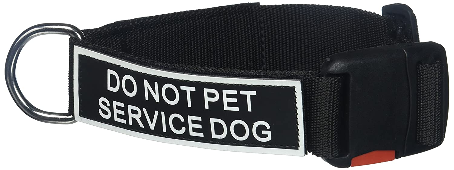 Dean and Tyler Patch Collar , Nylon Dog Collar with DO NOT PET SERVICE DOG Patches Black Size  Medium Fits Neck 21-Inch to 26-Inch