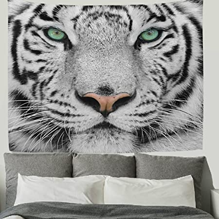 HMWR 60x40 Inch Tiger Tapestry Wall Hanging Cool Animal Bengal White Tiger  Head Print Wall Fabric