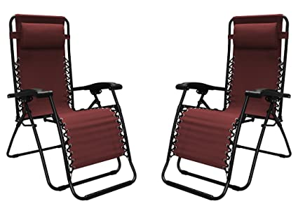 Caravan Sports Infinity Zero Gravity Chair   2 Pack, Burgundy