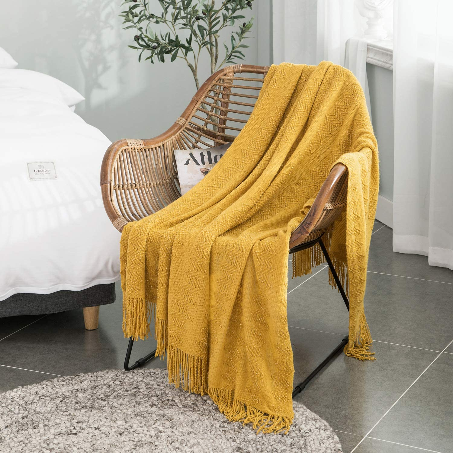 """ALPHA HOME Woven Acrylic Bed Throw Blanket for Couch 50"""" x 60"""" Soft Comfy Lightweight Tassel Mustard Blanket for Adults Child Elderly Infant Fringe Decorative Blanket for Bed & Travel Mustard Yellow"""