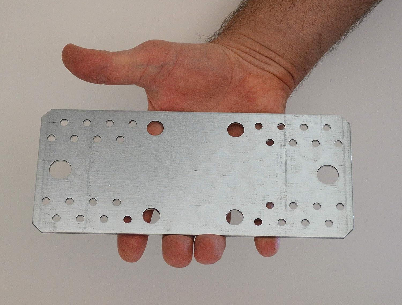 210 x 90 x 2,5 mm Lot de 5 plaques de raccordement plat en t/ôle dacier galvanis/ée robuste Grande taille