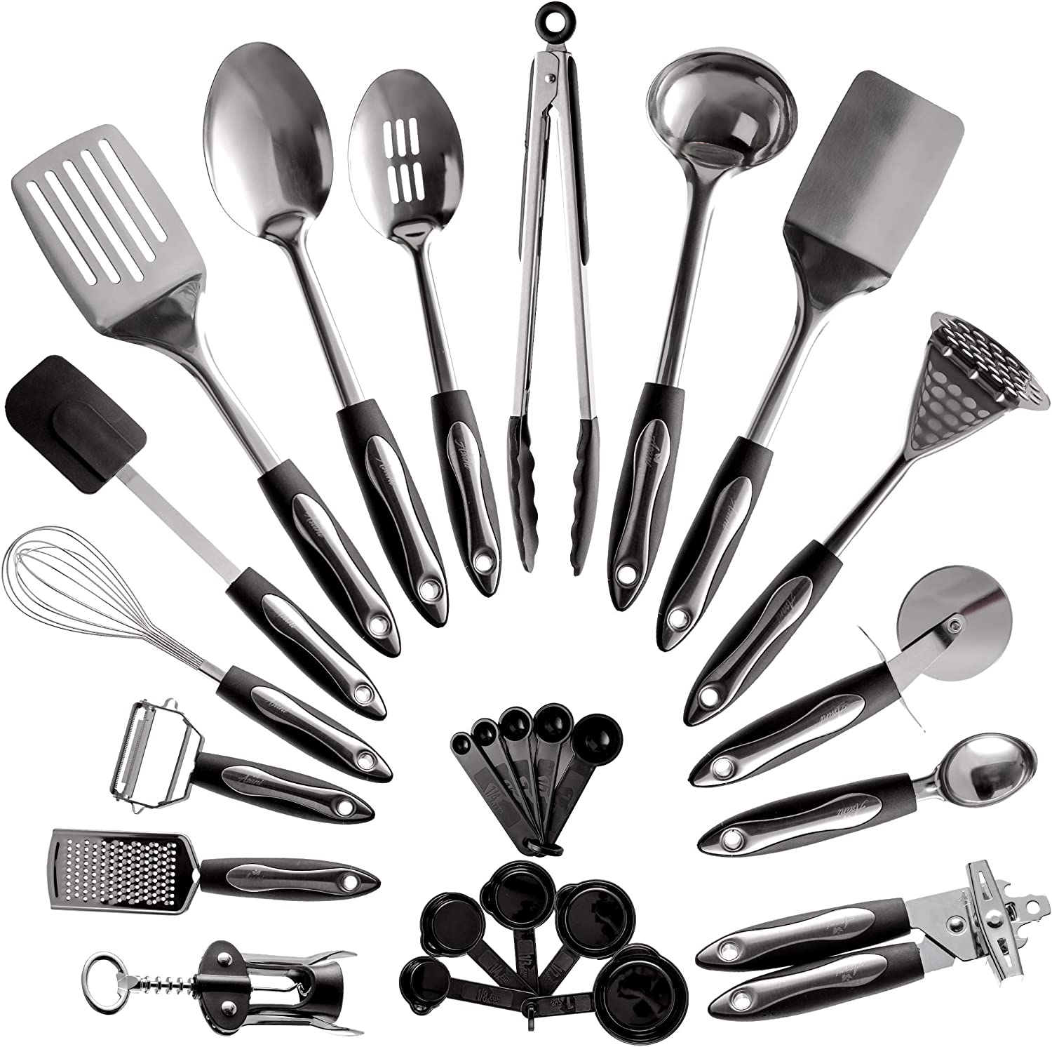 25-Piece Stainless Steel Kitchen Utensil Set | Non-Stick Cooking Gadgets and Tools Kit