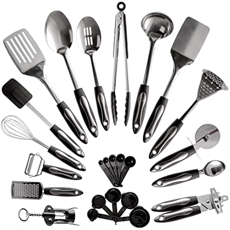 48a2a3dc5 25-Piece Stainless Steel Kitchen Utensil Set | Non-Stick Cooking Gadgets  and Tools