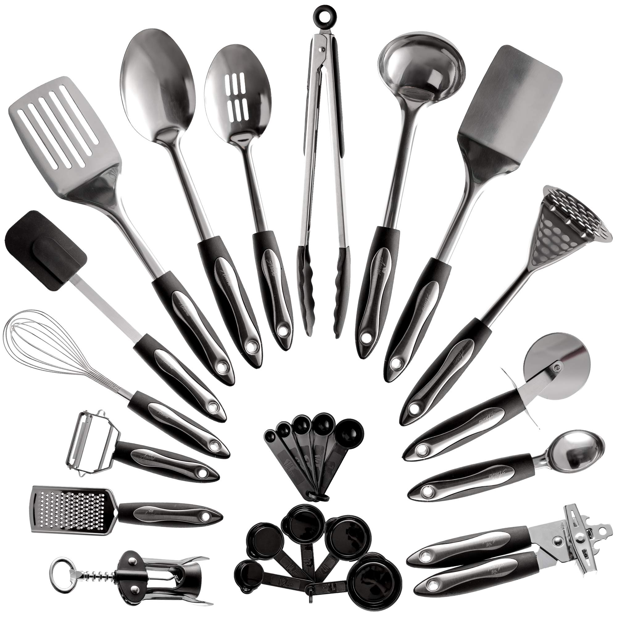 25-Piece Stainless Steel Kitchen Utensil Set | Non-Stick Cooking Gadgets  and Tools Kit | Durable Dishwasher-Safe Cookware Set | Kitchenware Gift  Idea, ...