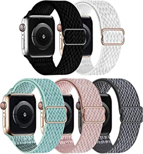 GBPOOT 5 Packs Nylon Stretch Band Compatible with Apple Watch Bands,Adjustable Soft Sport Breathable Loop for Iwatch Series 6/5/4/3/2/1/SE,Black/White/Marine Green/Rosepink/Storm Gray,38/40mm