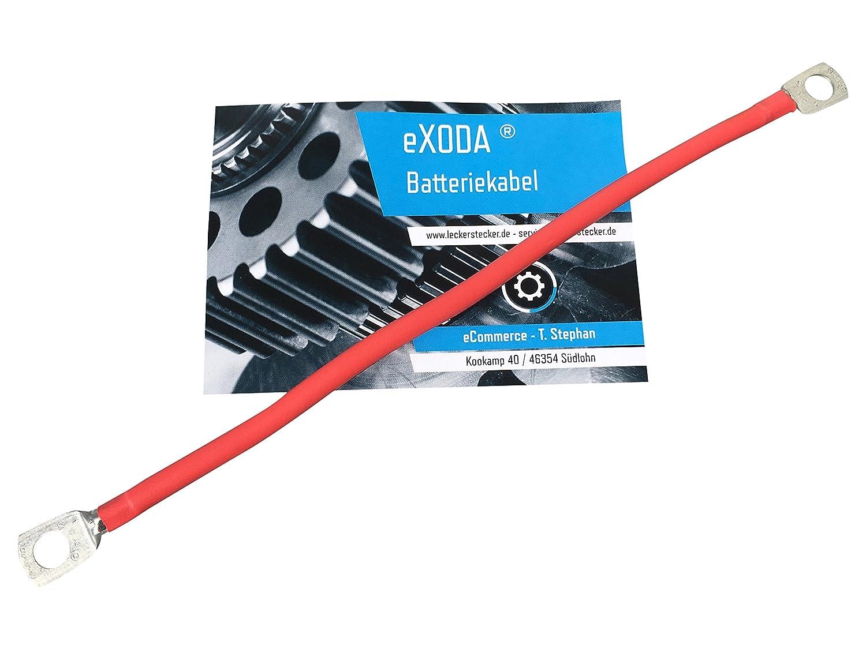 eXODA Cavo da batteria 50cm Cavo di alimentazione da 35 mm² in rame con estremità ad anello M10 rosso 12V cavo da auto