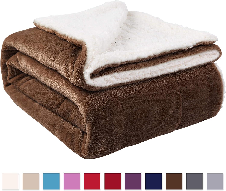 """NANPIPER Sherpa Blanket Twin Thick Warm Blanket for Winter Bed Super Soft Fuzzy Flannel Fleece/Wool Like Reversible Velvet Plush Blanket (Brown Twin Size 60""""x80"""")"""