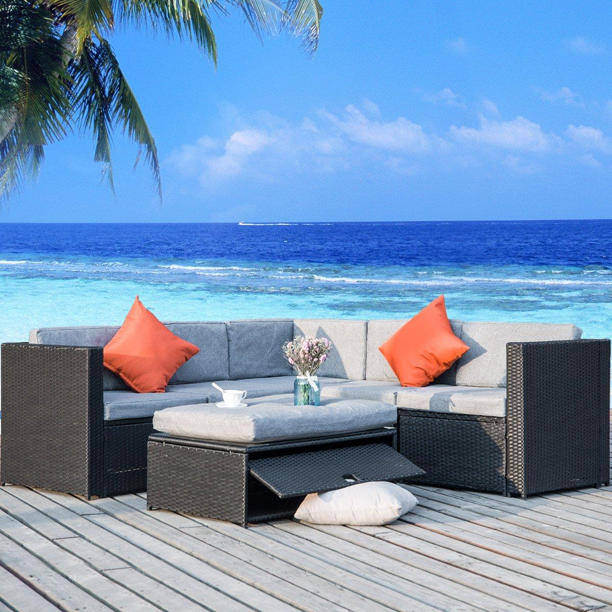 Merax 4 Piece Cushioned Outdoor Patio PE Rattan Furniture Set Sectional Garden Sofa (Black wicker + Grey cushion)