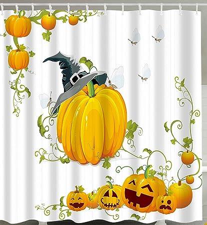 DENGYUE Happy Halloween Decoration Shower Curtain Pumpkin Harvest Autumn Leaves Thanksgiving Bathroom Decor Waterproof