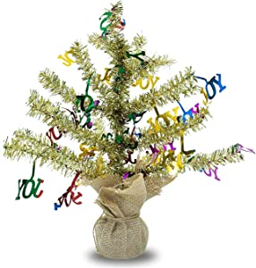 """QTIVY 18"""" Tabletop Halloween Christmas Trees with Shiny Joy DIY Artificial Tinsel Gold Tree with Sturdy Base for Home & Party & Office Décor Great Gift for Adults (Gold-Joy)"""