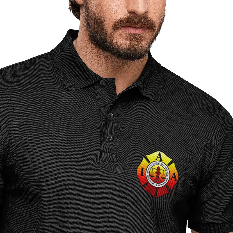 DXQIANG IAFF International Association of Fire Fighters Printed Novelty Polo Shirt Hawaiian Beach Cotton Shirt for Mens