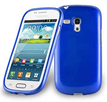 Cadorabo de de 104560 Samsung Galaxy S3 Mini (i8190) Funda Carcasa de TPU Silicona en Aspecto Acero Inoxidable Cepillado (Pulido), Color Azul