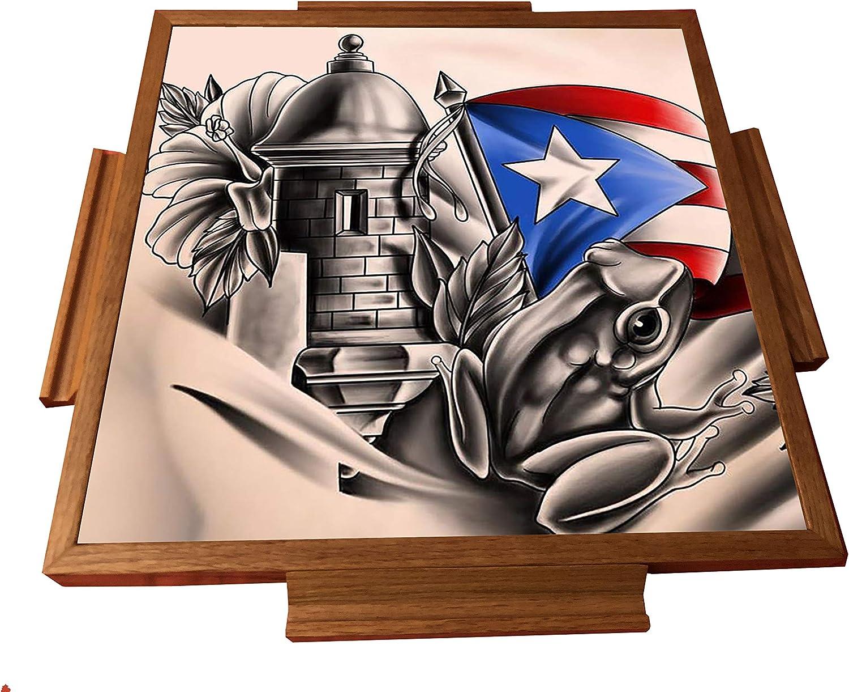latinos r us Puerto Rico Simbolo Boricua Domino Table Top