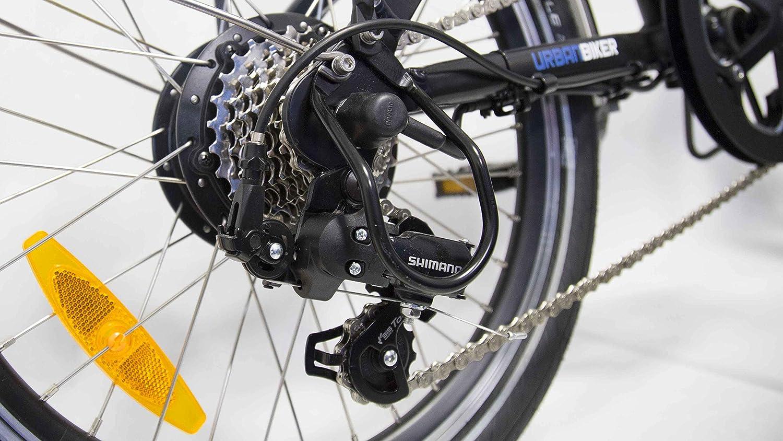 Urbanbiker - Bicicleta Eléctrica Plegable Con Batería Integrada En El Cuadro, Modelo Niza En Negro Mate.: Amazon.es: Deportes y aire libre