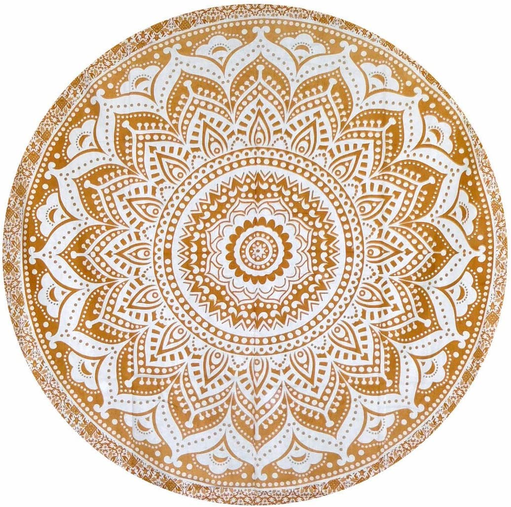 100/% Pur Coton tentures murales Mandala Rond Tapis de Yoga Indian Mandala Hippie Gypsy Gemsandcraft Mandala Dor/é ombr/é Rond Tapis de Yoga 127/cm Housse de Table Tapisserie Murale Tapisserie