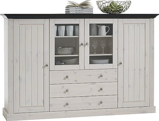 Steens Monaco 2+2 Glazed Door 3-Drawer Pine Display Cabinet ...