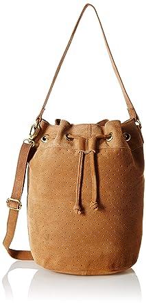 d2aa7840547e Amazon.com  Tresori Women s Real Leather Bucket Bag One Size Cognac ...