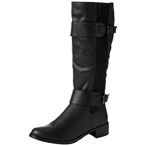 e4611bfbbf1 Fashion Thirsty LADIES WOMENS ELASTICATED FAUX LEATHER RIDING KNEE WIDE CALF  HIGH SHOE BOOT SIZE