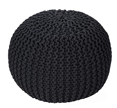 Tex Trend – Hand Knitted Cable Style Dori Pouf – Grey- Floor Ottoman – 100 Cotton Braid Cord – Handmade Hand Stitched – Truly one of a Kind Seating – 20 Dia x 14 High