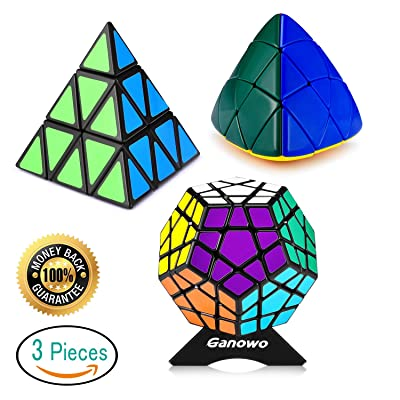 Ganowo 3x3 Pyramid Megaminx Mastermorphix Pyramorphix Triangle Cube Puzzle Pack Speed Cube Magic Cube Set Playwin Black with Cube Stand