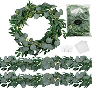 Trimgrace 2 Pack 6.5 Feet Artificial Silver Dollar Eucalyptus Leaves Garland with Willow Vines Leaves Greenery for Wedding Party Home Christmas Centerpiece Table Runner Greenery Arch Indoor Outdoor