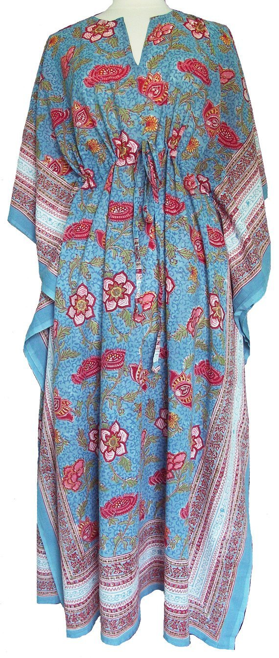 79b8d02a54 Amazon.com: Blue & Red Manchu Chinoiserie Floral Anokhi Hand block print  Long Indian cotton Kaftan One Size: Handmade