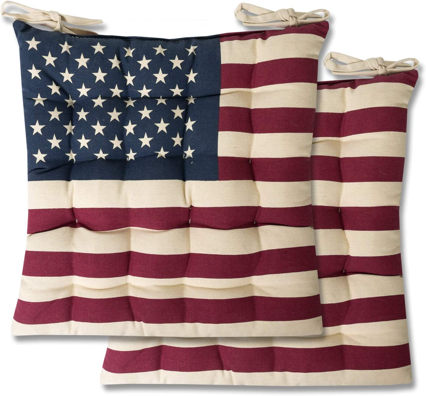 Sweet Home Collection Chair Cushion Seat Pads Indoor Outdoor Printed Tufted Design Soft And Comfortable Covers For Dining Rooms Patio With Ties For Non Slip 2 Pack American Flag 2 Count Home