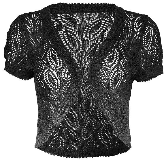 Kmystic Short Sleeve Knitted Crochet Shrug Bolero Crop Top Drops