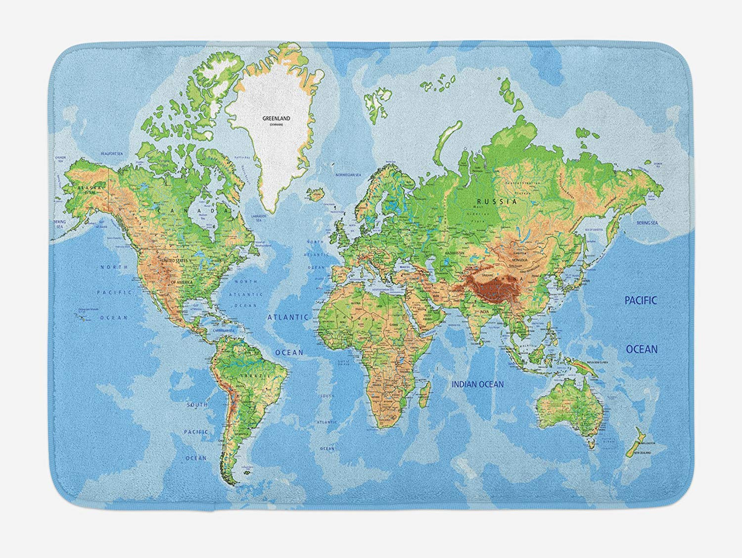 World Map Bath Mat, Topographic Map of The World Continents ...