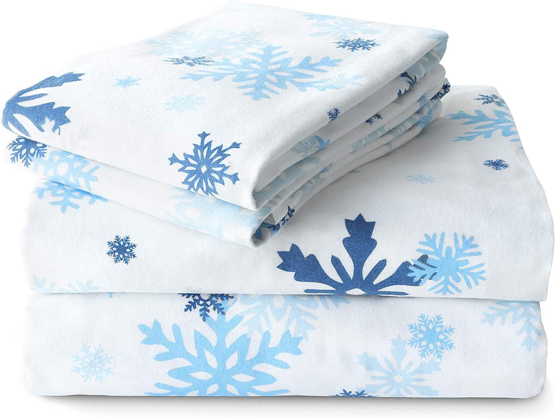Amazon Com Jumpoff Jo Flannel Sheet Set Queen Snowflake Home Kitchen