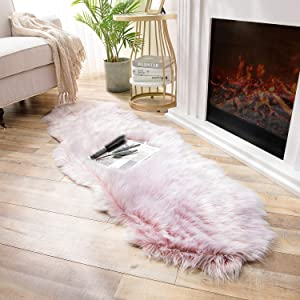 Ashler Soft Faux Sheepskin Fur Chair Couch Cover Area Rug Bedroom Floor Sofa Living Room Light Pink 2 x 6 Feet