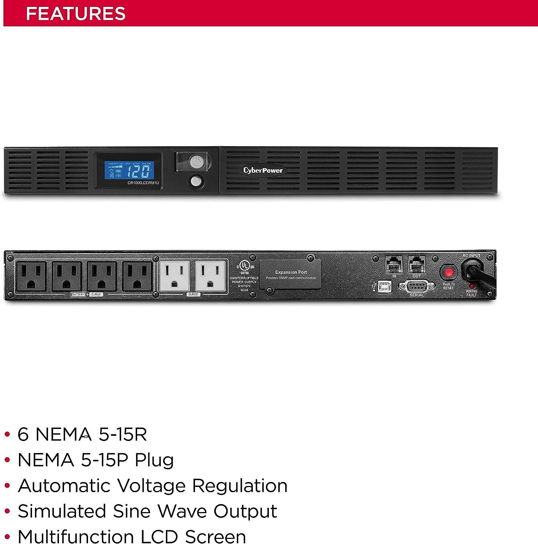 CyberPower Smart App LCD OR1000LCDRM1U 1000 VA//600 W UPS Series