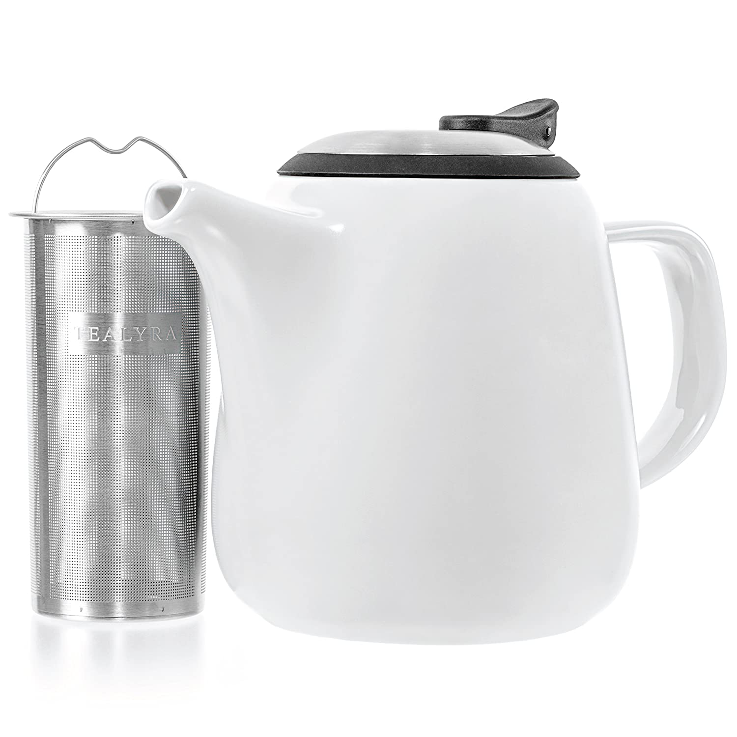 Tealyra - Daze Ceramic Teapot in White - 27-ounce (2-3 cups) - Small Stylish Ceramic Teapot with Stainless Steel Lid and Extra-Fine Infuser To Brew Loose Leaf Tea