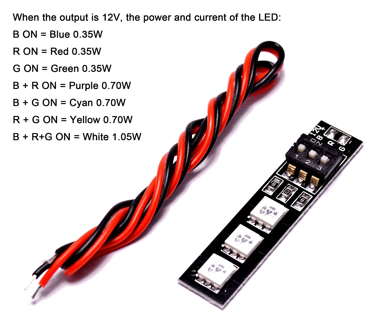 Lhi 7 Colors Rgb 5050 Led Strip Night Light 12v With Dip Switch 30mm Board Wiring Wire For