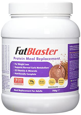 Fatblaster Chocolate Whey Protein Meal Replacement Diet Shake 22 Essential Vitamins Nutritionally Complete For Men Women 700g 14 Servings