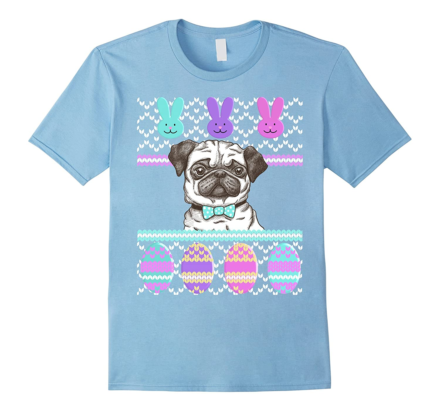 Ugly Easter Sweater Dog Pug Bunny Face Eggs T-Shirt-CD