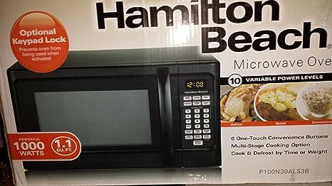 Amazon.com: Hamilton Beach 1000 W Microondas con cierre de ...